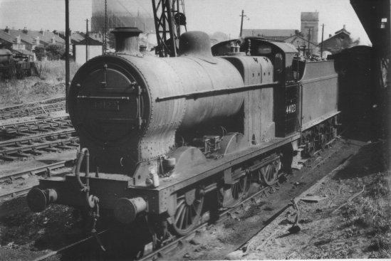 44123 at what is thought to be Gloucester shed in the 1960s. Note the  generally filthy condition of the loco, with the exception of the cab side,  which some brave soul has attempted to clean.