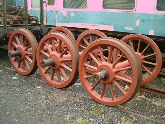 Tender wheels cleaned and painted and ready to  go. The first time they've seen paint in many years...
