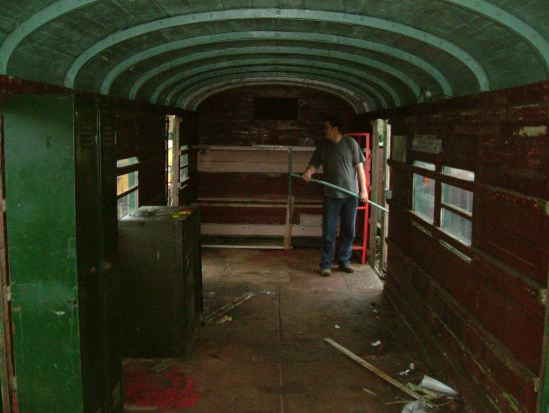 This is the interior of the van after it had arrived  at the Avon Valley Railway, and being prepared for conversion into a stores  vehicle