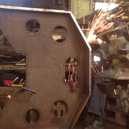The new boiler support plate is seen here having the various welds dressed prior to being released for final machining