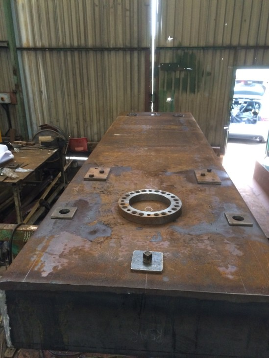 Here's a view on the underside of the tender well showing the various attachments which have now been welded on.   Don't let the rusty finish worry you - this will be grit blasted once the tank fabrication is completed, and then coated with a decent paint system, so it will hopefully last for many years.