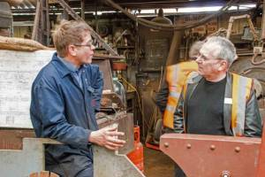 Carl shows the new tender frames to Sir Peter Hendy.  Photo credit - Robin Mitchell.